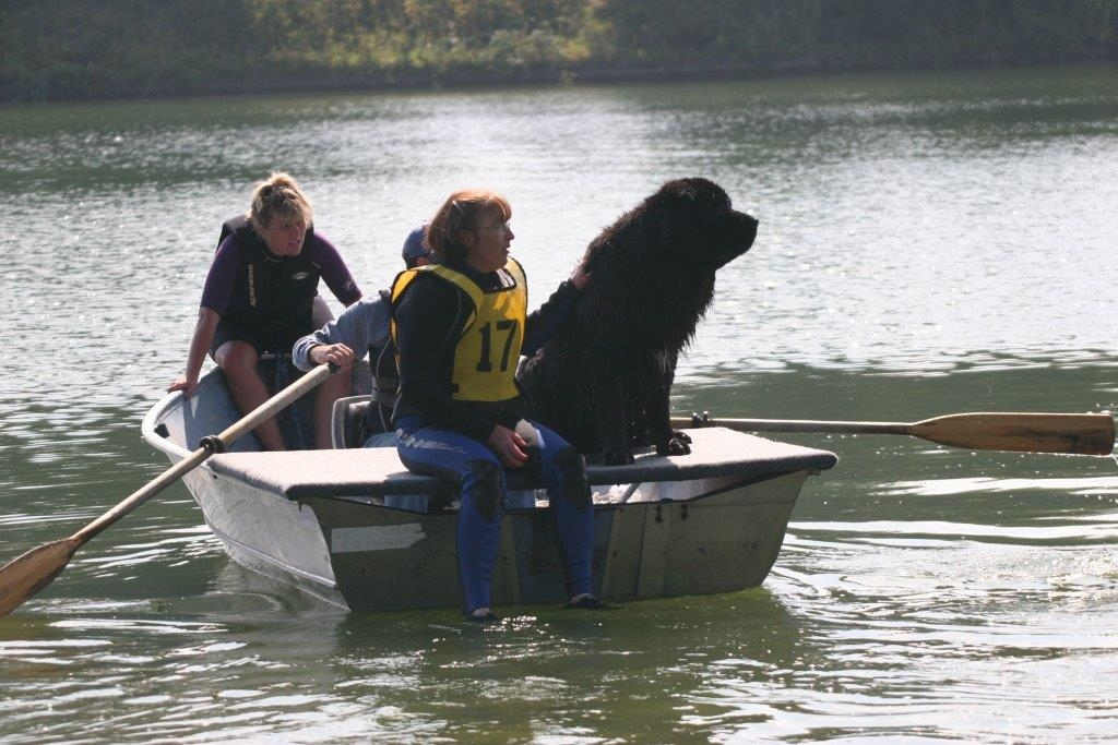 Bonnie Fergussen and her Newfie in Water Rescue competition